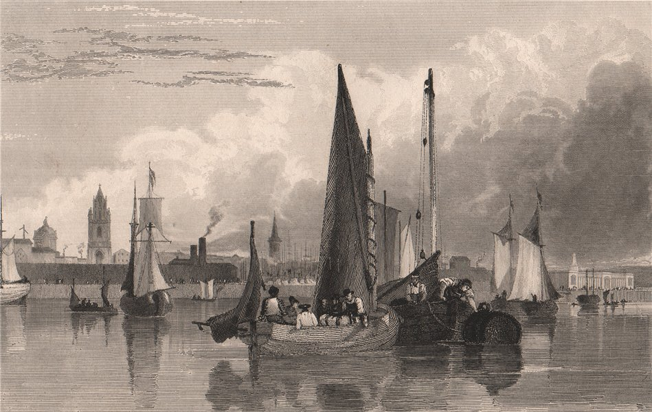 Associate Product Liverpool, from the Mersey, plate II. AUSTIN 1829 old antique print picture