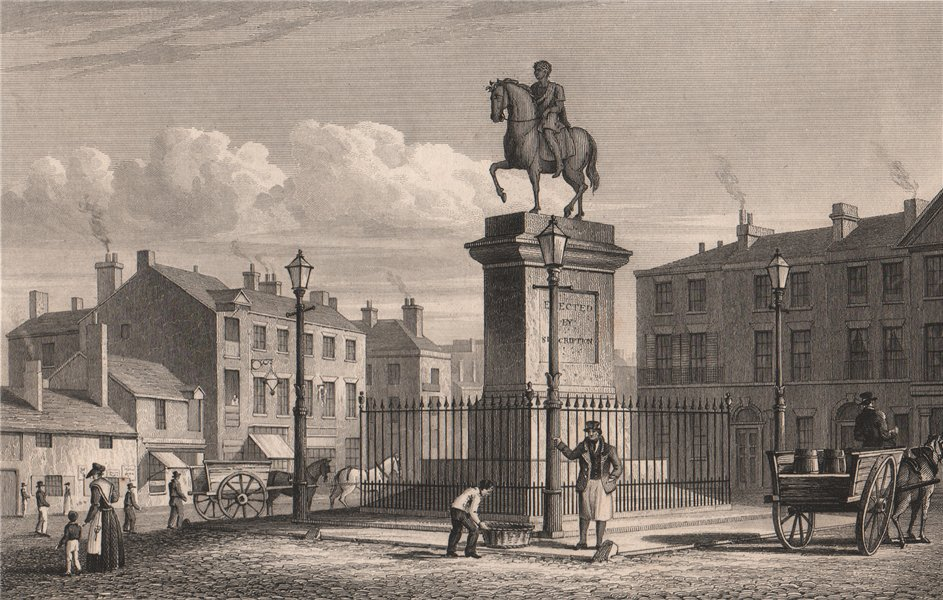 Associate Product Statue of King George III, Monument Place, London Road. Liverpool. ALLOM 1829