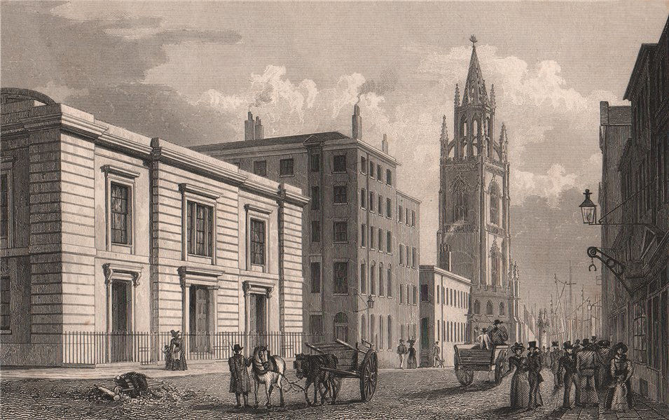 Associate Product Sessions House, Chapel Street. Demolished 1855. Liverpool. PYNE 1829 old print