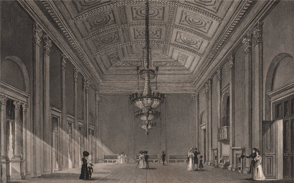 Associate Product Interior of the Ballroom, Liverpool Town Hall. HARWOOD 1829 old antique print