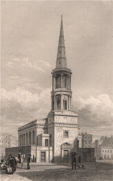 Associate Product St. George's Church, Derby Square, Liverpool. Razed 1899. PYNE 1829 old print