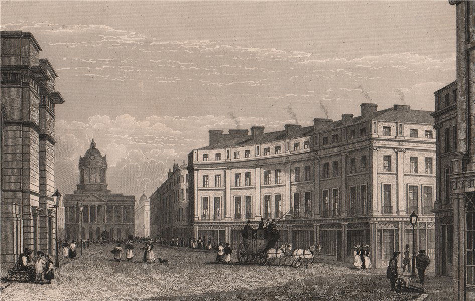 Associate Product St. George's Crescent & Castle Street. Liverpool. HARWOOD 1829 old print