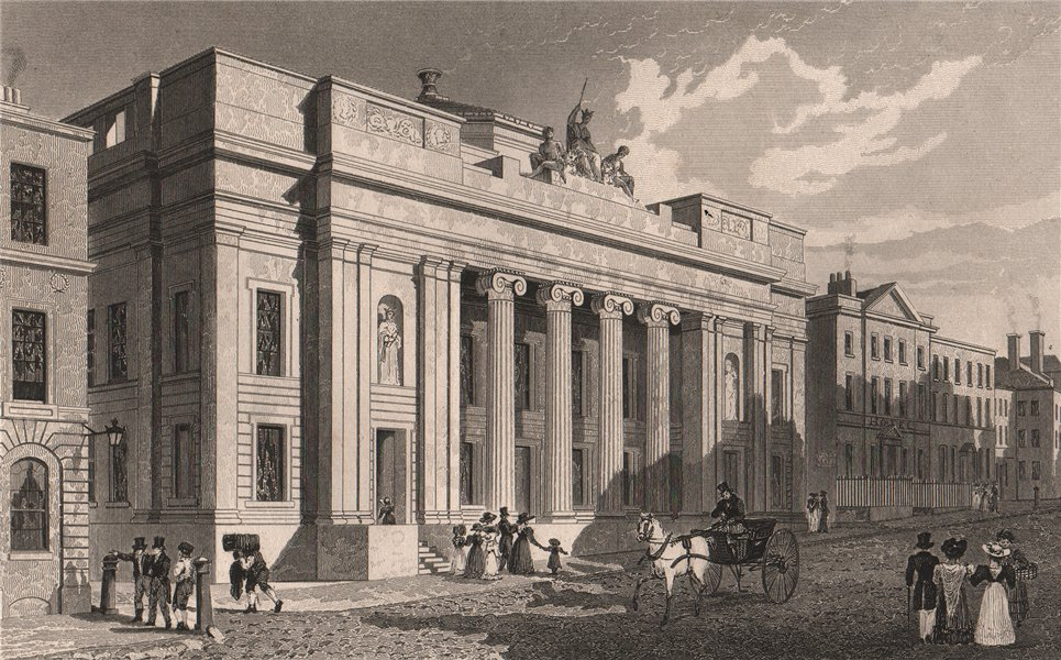 Associate Product Old Town Hall, King Street, Manchester. Heaton Park colonnade. ALLOM 1829