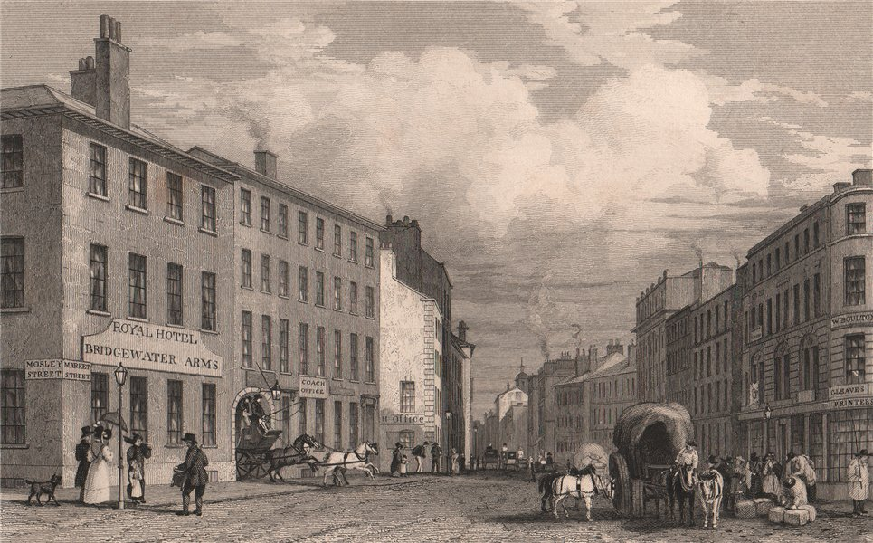 Associate Product Market Street, from Piccadilly, Manchester. HARWOOD 1829 old antique print