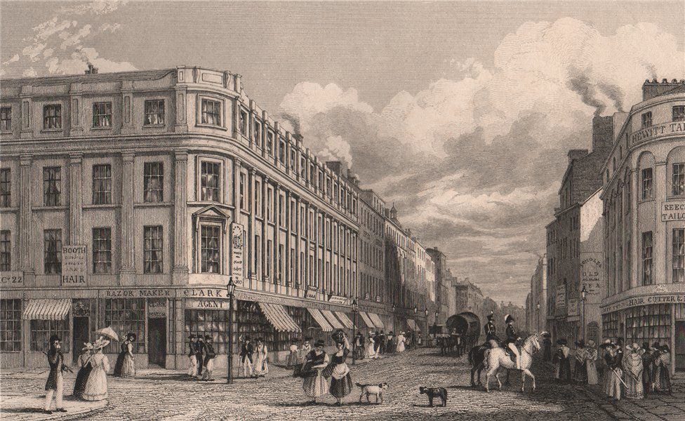 Associate Product Market Street, from the Market Place, Manchester. HARWOOD 1829 old print
