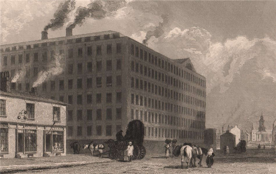 Associate Product The Twist Factory, Oxford Street, Manchester. HARWOOD 1829 old antique print