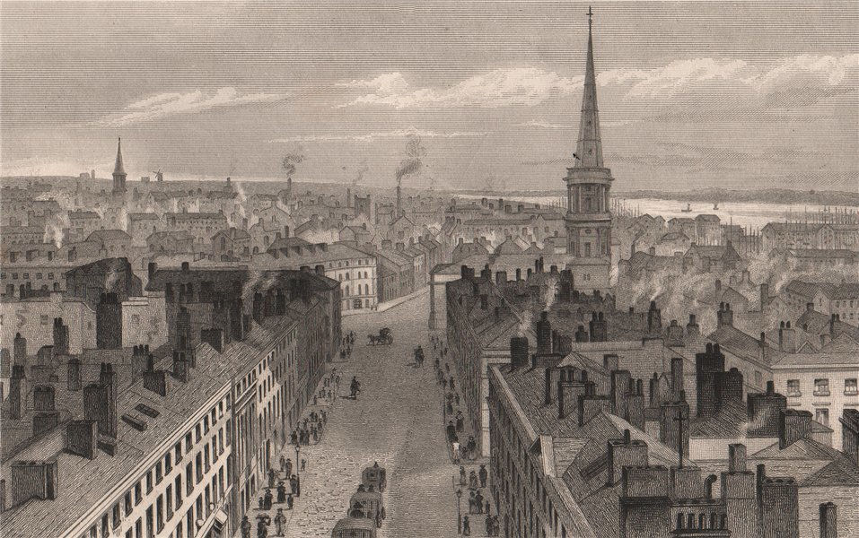 Associate Product Liverpool from the Town Hall. Castle Street St George's church Derby Square 1829
