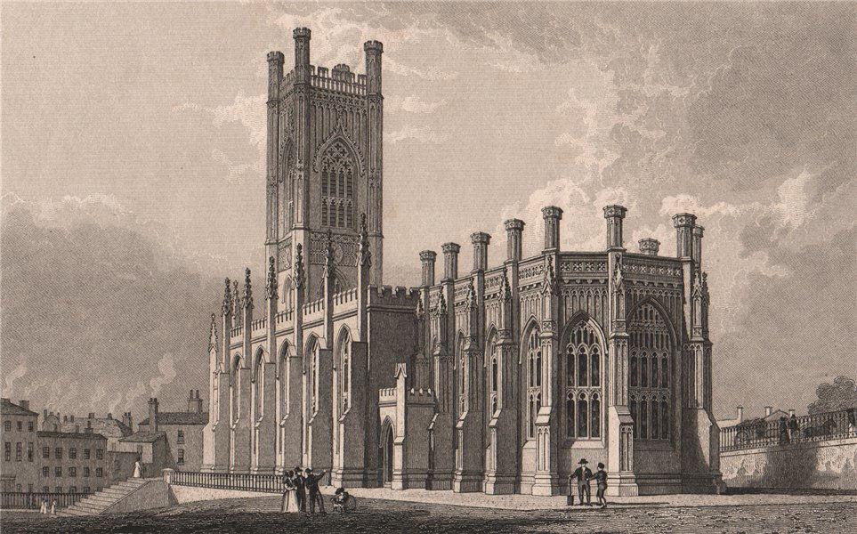 S.E. view of St. Luke's Church, Roscoe Street/Bold Place, Liverpool. ALLOM 1829