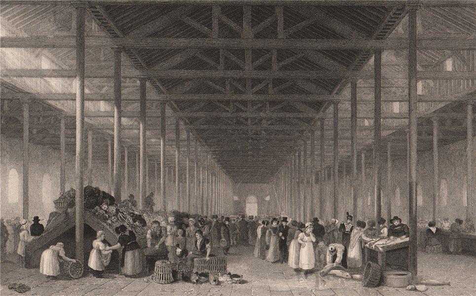 Associate Product The interior of St. John's Market, Liverpool. AUSTIN 1829 old antique print