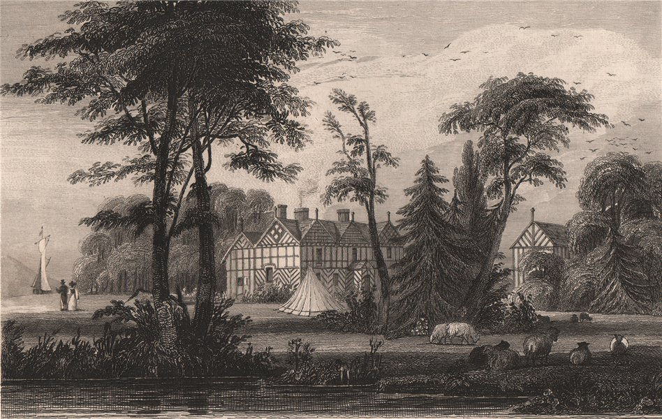 Associate Product Irlam Hall, Manchester. HARWOOD 1829 old antique vintage print picture