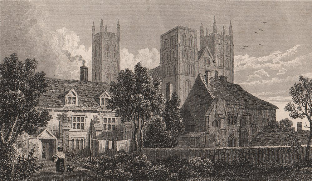 Associate Product Canterbury Cathedral, Kent. GASTINEAU 1829 old antique vintage print picture