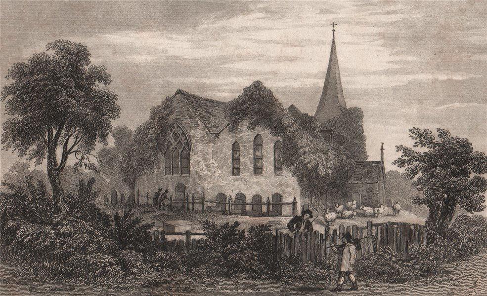 Associate Product St John the Baptist church, Erith, Kent. Near Dartford. FUSSELL 1829 old print