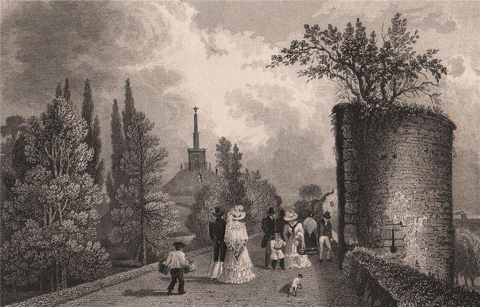 Associate Product Dane John Mound, Canterbury, Kent. SHEPHERD 1829 old antique print picture