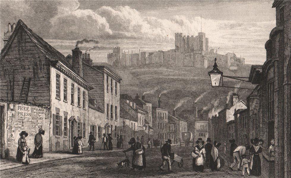 Associate Product St. James Street & castle, Dover, Kent. SHEPHERD 1829 old antique print
