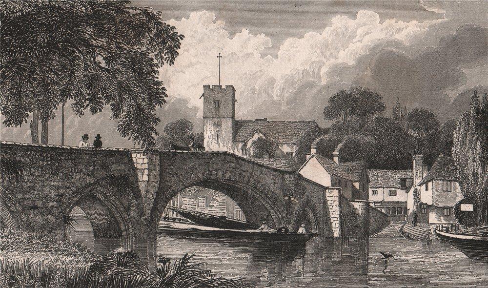 Associate Product St Peter & St Paul's Church & bridge, Aylesford, Kent. BARTLETT 1829 old print