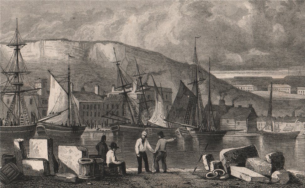 Associate Product The quay at Dover. Kent, and Wrights Hotel. SHEPHERD 1829 old antique print