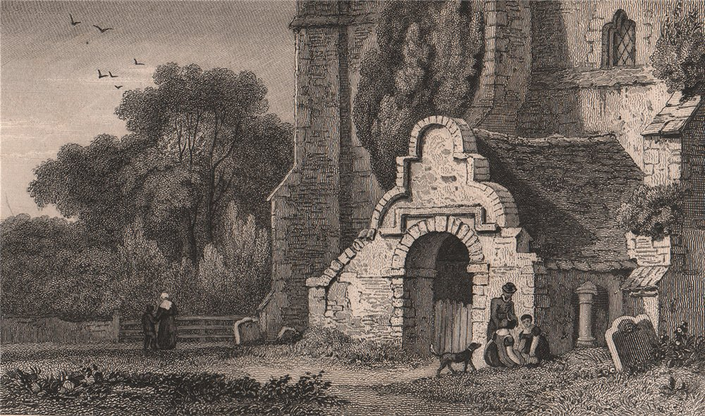 Associate Product Church of St Martin, Great Mongeham, near Deal, Kent. GASTINEAU 1829 old print