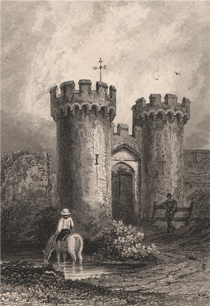 Associate Product The entrance to Cowling Castle. Kent. BARTLETT 1829 old antique print picture