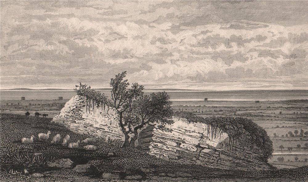 Studfall Castle (near Lympne Castle), Kent. Roman ruins. SHEPHERD 1829 print