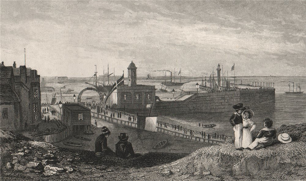 Associate Product Margate. The pier and new light house. Kent. SHEPHERD 1829 old antique print