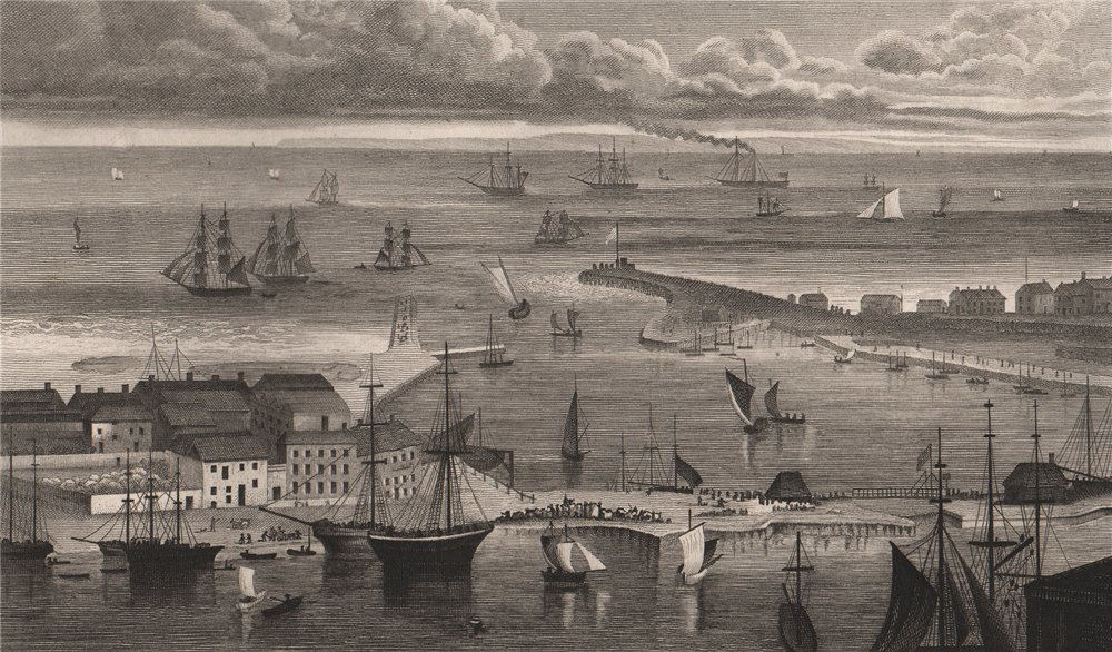 Associate Product The pier & harbour, Dover, from the heights above the town. Kent. SHEPHERD 1829