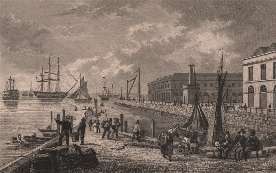 Associate Product Sheerness, from the pier. Kent. BAYNES 1829 old antique vintage print picture