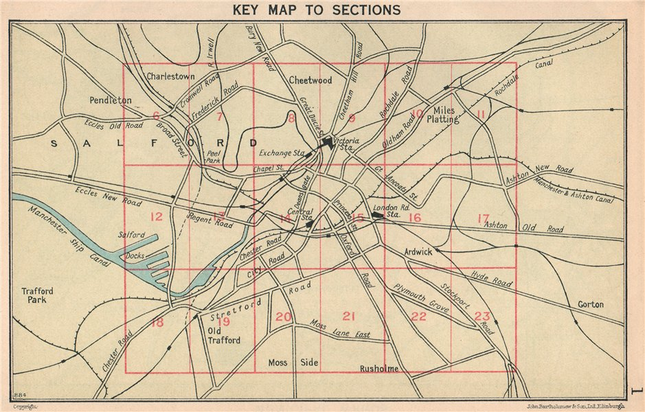 Associate Product MANCHESTER. Key map to sections 1927 old vintage plan chart
