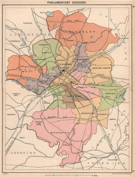 MANCHESTER Parliamentary divisions constituencies 1927 old vintage map chart