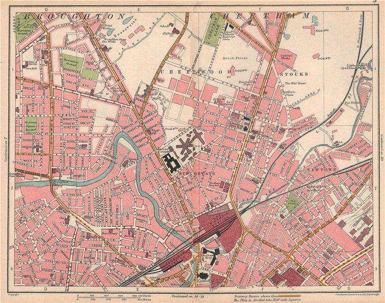 Associate Product MANCHESTER NORTH. Cheetwood Cheetham Victoria Broughton 1927 old vintage map