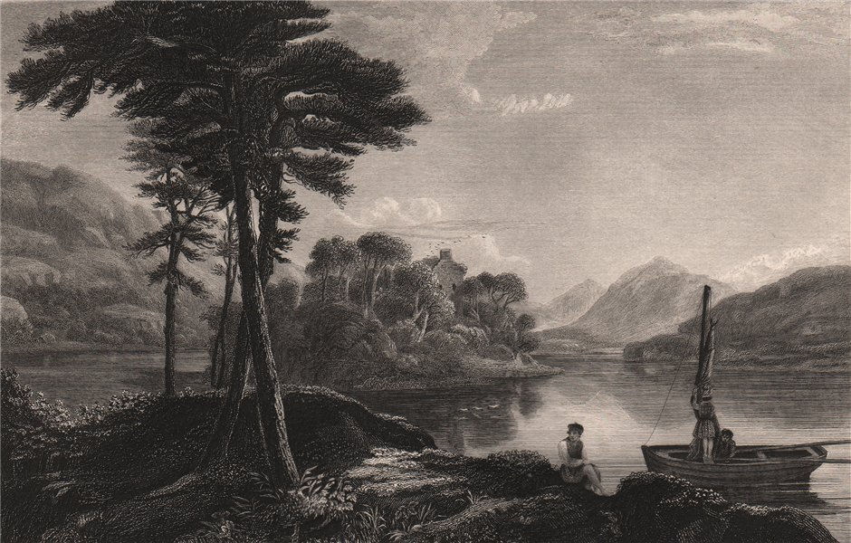 Associate Product Loch Awe, Argyll and Bute. Scotland 1845 old antique vintage print picture
