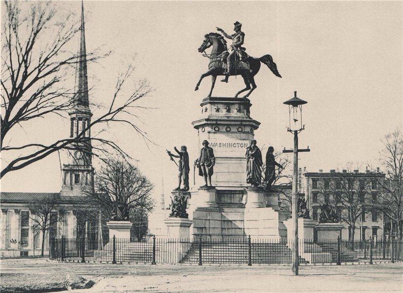 Associate Product Washington Monument at Richmond, Virginia. Albertype print 1893 old