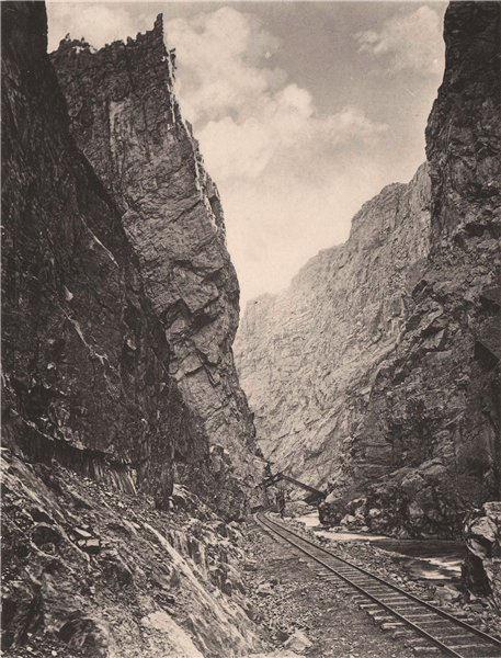 Associate Product The Royal Gorge in Colorado, Denver & Rio Grande Railroad. Albertype print 1893