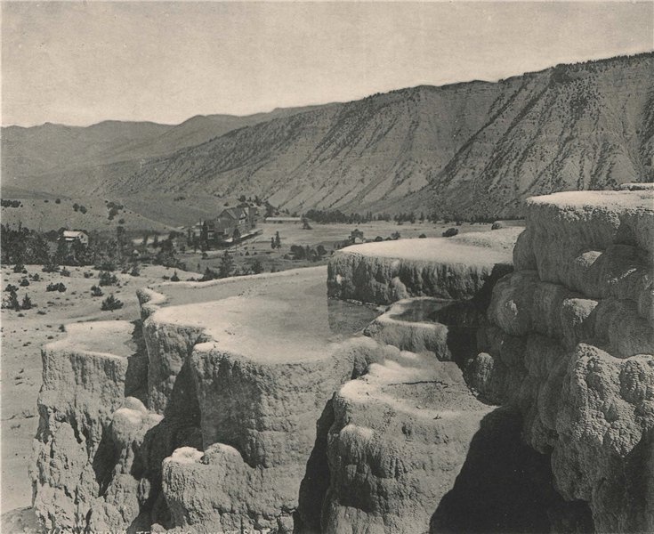 Associate Product Minera Terraces, West Side, Yellowstone National Park, Wyoming. Albertype 1893