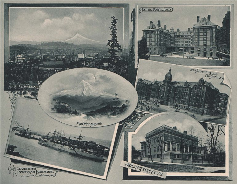 Associate Product Portland, Oregon. Albertype print 1893 old antique vintage picture