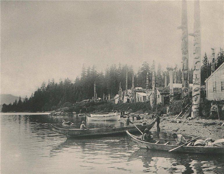 Associate Product Kasa-an Village, Alaska. Albertype print 1893 old antique picture