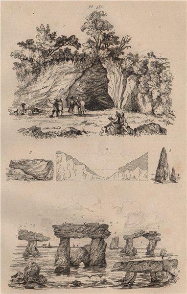 Associate Product CAVES. Ossemens. Fossilised bones 1834 old antique vintage print picture