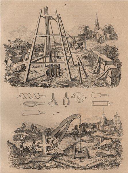 Associate Product GEOLOGY. Puits Artésiens (Artesian Wells) II 1834 old antique print picture