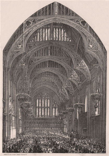 Associate Product A Banquet at the Guildhall, London c1880 old antique vintage print picture