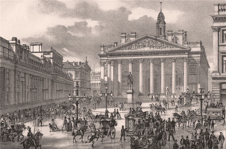 Associate Product The Royal Exchange & Bank of England, from the Mansion House, London c1880