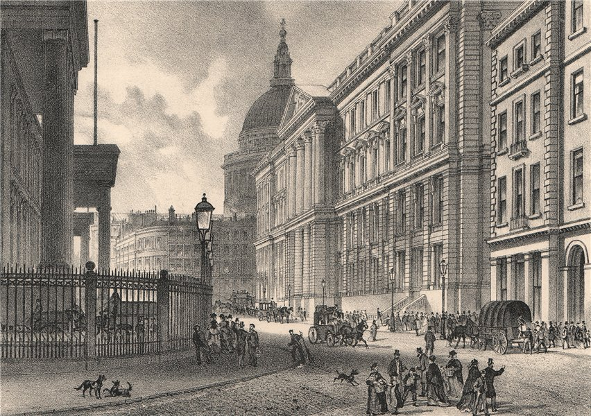 The New Post-Office (St. Martin's-le-Grande), London c1880 old antique print