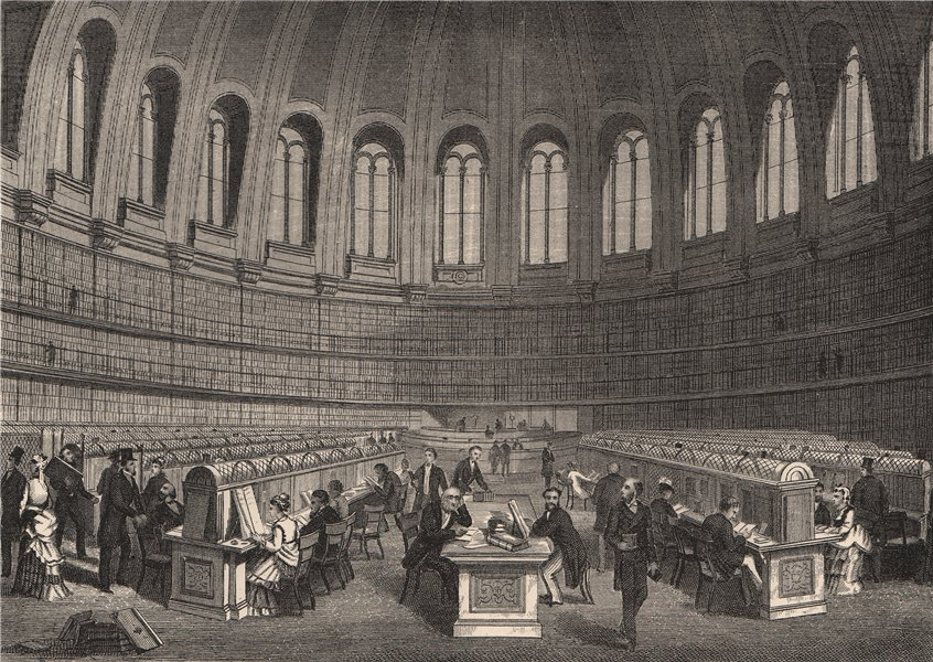Associate Product Reading room in British Museum, London c1880 old antique vintage print picture