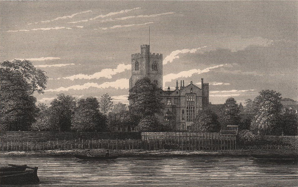 Associate Product Fulham Church, from the Thames, London c1880 old antique vintage print picture