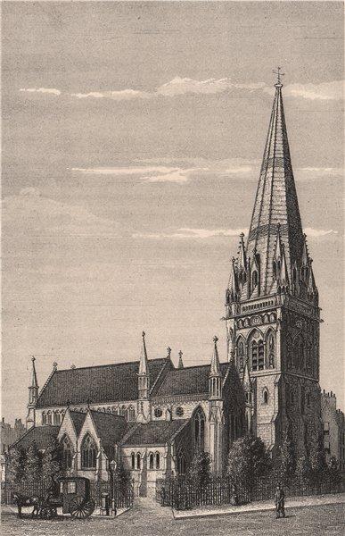Associate Product Kensington Church, London c1880 old antique vintage print picture