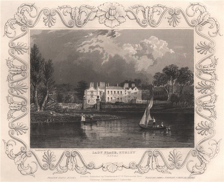 Associate Product 'Lady Place, Hurley'. Berkshire. Decorative view by William TOMBLESON 1835