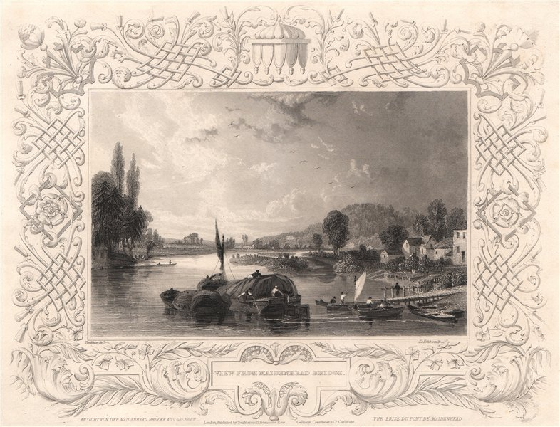 Associate Product 'View from Maidenhead Bridge'. Berkshire. Decorative view by Wm TOMBLESON 1835