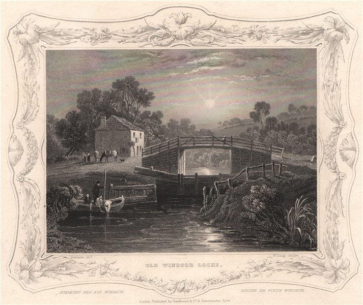 Associate Product 'Old Windsor Locks'. Berkshire. Decorative view by William TOMBLESON 1835