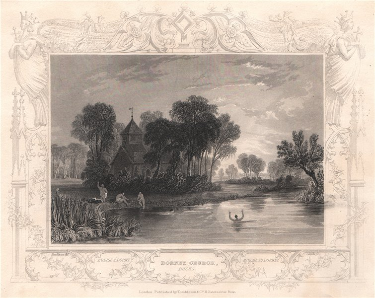 Associate Product 'Dorney Church'. Buckinghamshire. Decorative view by William TOMBLESON 1835