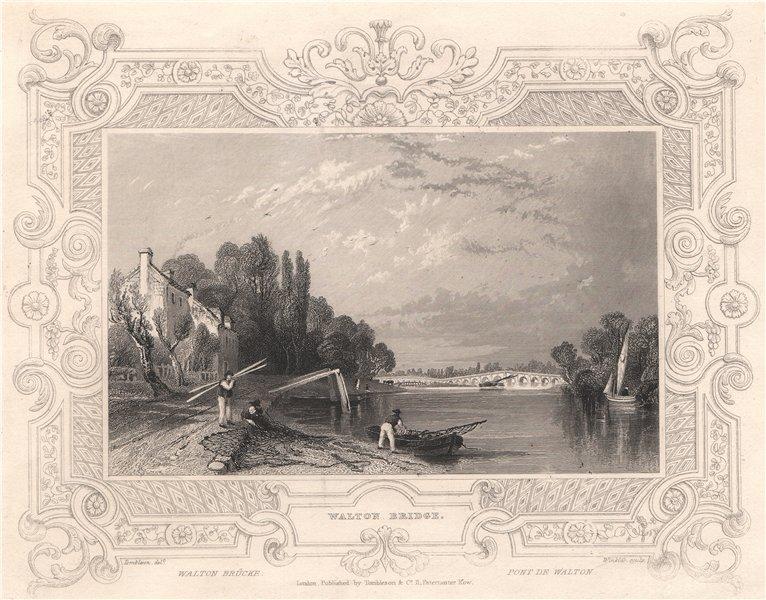 Associate Product 'Walton Bridge'. Walton-on-Thames, London. Decorative view by Wm TOMBLESON 1835