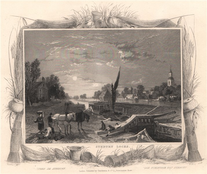 Associate Product 'Sunbury Locks'. Surrey. Decorative view by William TOMBLESON 1835 old print