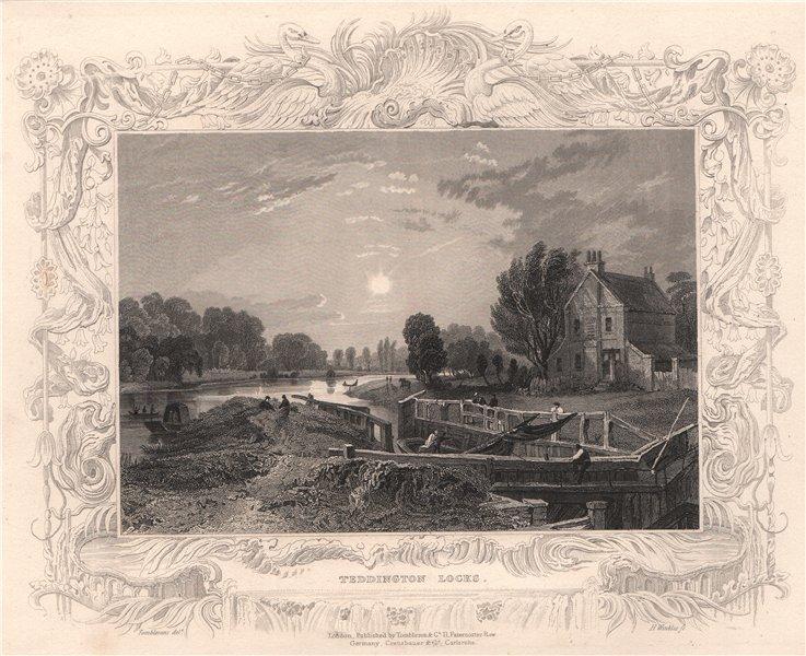 Associate Product 'Teddington Locks'. London. Decorative view by William TOMBLESON 1835 print